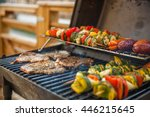 assorted delicious grilled meat ... | Shutterstock . vector #446215645
