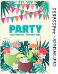 pineapple cocktail  coconut... | Shutterstock .eps vector #446226832