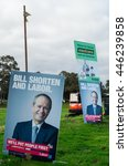 Small photo of Melbourne, Australia - July 2, 2016: Australian Labor Party posters featuring opposition leader Bill Shorten at the Mullauna College polling place in the electorate of Deakin on federal election day.