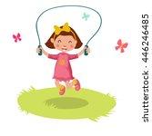 little cartoon girl skipping... | Shutterstock . vector #446246485