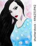 watercolor girl with long dark... | Shutterstock . vector #446251942