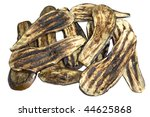 Slices of roasted aubergine isolated over a white background. - stock photo