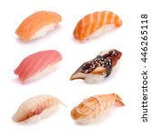 nigiri sushi set  salmon  tuna  ...   Shutterstock . vector #446265118