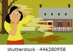 woman standing in a backyard...   Shutterstock .eps vector #446280958