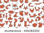 cute foxes seamless pattern for ... | Shutterstock .eps vector #446283202