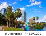 orlando skyline from lake eola... | Shutterstock . vector #446291272