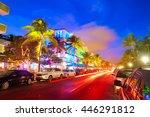 miami beach south beach sunset... | Shutterstock . vector #446291812