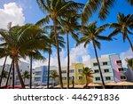 miami beach ocean boulevard art ... | Shutterstock . vector #446291836