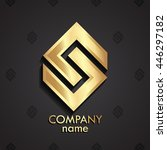 modern golden geometric 3d logo ... | Shutterstock .eps vector #446297182
