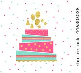 illustration of happy birthday... | Shutterstock . vector #446306038