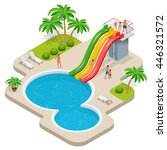 summer fun at pool. child with... | Shutterstock .eps vector #446321572