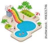 summer fun at pool. child with... | Shutterstock . vector #446321746