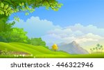 evergreen vast fields of mother ... | Shutterstock .eps vector #446322946