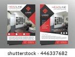 grey red brochure flyer...   Shutterstock .eps vector #446337682