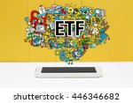etf concept with smartphone on... | Shutterstock . vector #446346682