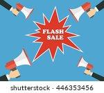 hands holding megaphone with... | Shutterstock .eps vector #446353456