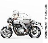 boy riding motorcycle   Shutterstock . vector #446358988