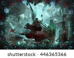 mad white rabbit  white and red ... | Shutterstock . vector #446365366