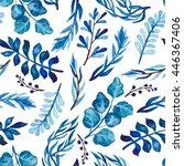 Watercolor Bright Blue Foliage...