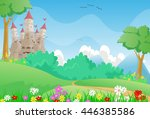 beautiful landscape with fairy...   Shutterstock . vector #446385586