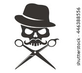 skull with mustache and hat... | Shutterstock .eps vector #446388556