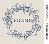 wreath of blueberries. vector... | Shutterstock .eps vector #446407366