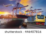 container ship in import export ... | Shutterstock . vector #446407816