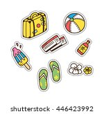 summer and travel themed cute... | Shutterstock .eps vector #446423992