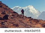 hiker in himalayas mountain.... | Shutterstock . vector #446436955