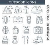 trekking and outdoor line icons.... | Shutterstock .eps vector #446442706