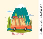 travel concept  travel car ... | Shutterstock .eps vector #446457532