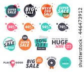 Set of flat design sale stickers. Vector illustrations for online shopping, product promotions, website and mobile website badges, ads, print material. | Shutterstock vector #446473912