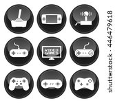 video game icons black button... | Shutterstock . vector #446479618