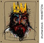 mad king with blood drops.... | Shutterstock . vector #446487256