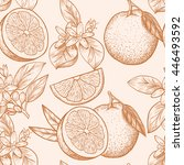 oranges  and flowers. vector... | Shutterstock .eps vector #446493592