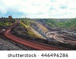 open coal mining pit with heavy ... | Shutterstock . vector #446496286