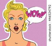pop art surprised blond woman... | Shutterstock .eps vector #446524792