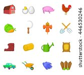 farm icons set in cartoon style.... | Shutterstock .eps vector #446530246