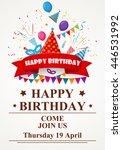 happy birthday greeting card... | Shutterstock .eps vector #446531992