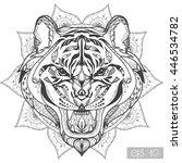 wild tiger head zentangle... | Shutterstock .eps vector #446534782