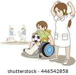 boy sitting in wheelchair with... | Shutterstock .eps vector #446542858