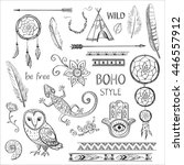 set of boho style hand drawn... | Shutterstock .eps vector #446557912