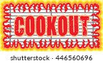 cookout with flames design is... | Shutterstock .eps vector #446560696