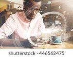 technology and worldwide... | Shutterstock . vector #446562475