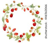 watercolor wreath strawberries  ... | Shutterstock . vector #446563066