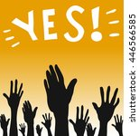 many hands up consensus vote... | Shutterstock .eps vector #446566585