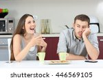 bored husband hearing his wife...   Shutterstock . vector #446569105