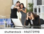 two businesspeople bullying a... | Shutterstock . vector #446573998
