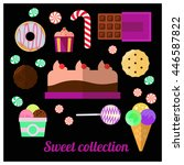 different sweets  chocolate ... | Shutterstock .eps vector #446587822
