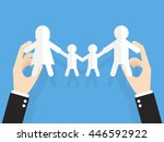 hands of businessman or manager ... | Shutterstock .eps vector #446592922
